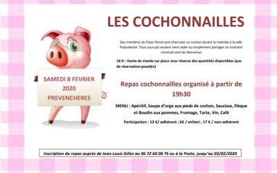 Samedi 8 février 2020 le Foyer Rural vous propose «Les Cochonailles»